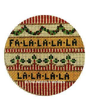 round ornament with Fa La La La La on yellow stripes with red and green patterned stripes