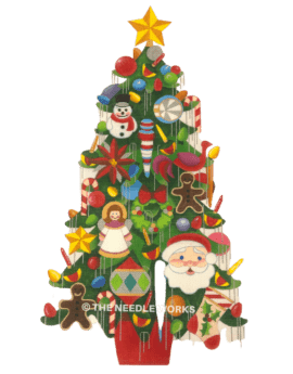 Christmas tree with colorful variety of ornaments