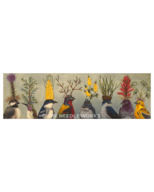 variety of birds with different flowers and vegetables coming up from their heads