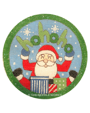 round ornament with Santa holding ho ho ho sign and presents at his seat