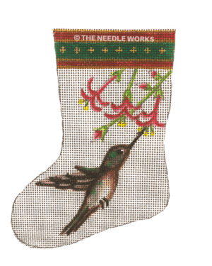 white stocking with hummingbird and pink flowers