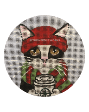 round ball with black and white kitten in red knit cap with red and green striped scarf holding coffee