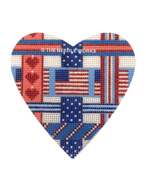 patriotic heart in calico pattern with American flag in center