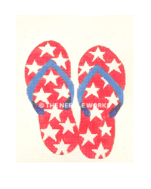 patriotic flip flops in red with white stars and blue straps