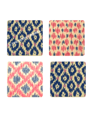 4 squares with various patterns in blue, pink and yellow