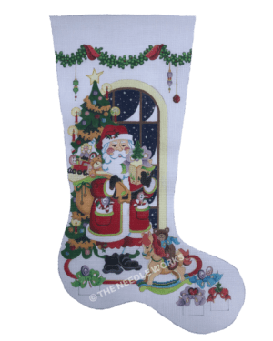 white stocking with Santa carrying bag of toys next to Christmas tree and window with snow falling