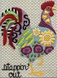colorful rooster in flower pattern with steppin' out written