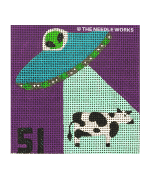 purple square with alien ship shining light on cow and 51 written in black