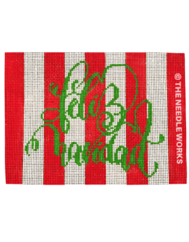 red and white striped rectangle with Feliz Navidad in green script