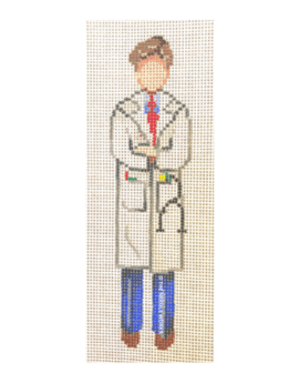brunette male doctor in blue suit and tie with white doctor coat