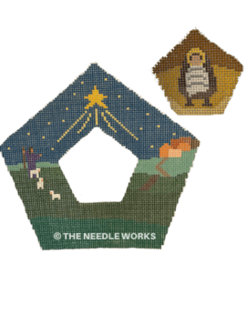 nativity pentagon shaped ornament with separate center section with baby Jesus in manger