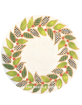 olive wreath with patterned leaves