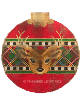 red ornament ball with reindeer and plaid stripe with checkered border