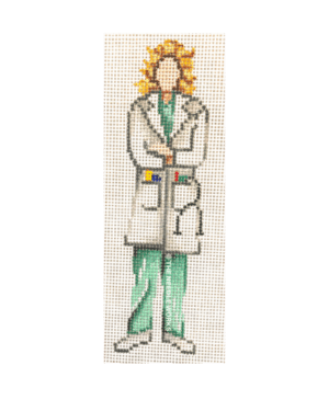 female blonde doctor in green scrubs and white coat