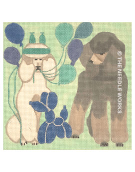 black and brown poodle with blue and purple balloons and dog shaped balloon