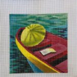 yellow umbrella on canoe on water canvas